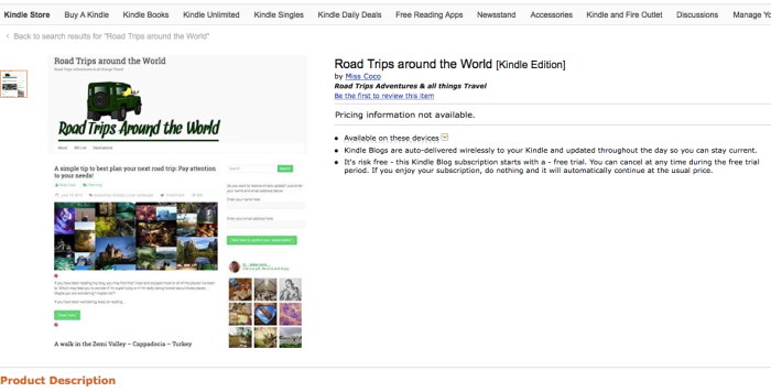 Road Trips around the World on Amazon blog