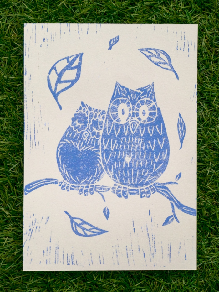 Linoleum - Lisa owls blue