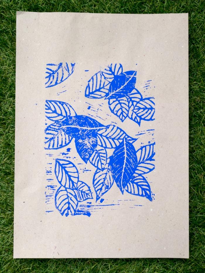 Linoleum -Miss Coco - blue leaves