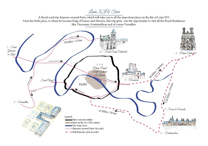 Louis XIV Tour around Paris - A Map designed by Miss Coco - beautifulthings-photography.com