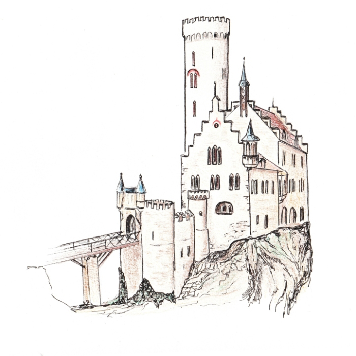 Lichtenstein Castle Drawing for roadtripsaroundtheworld.com