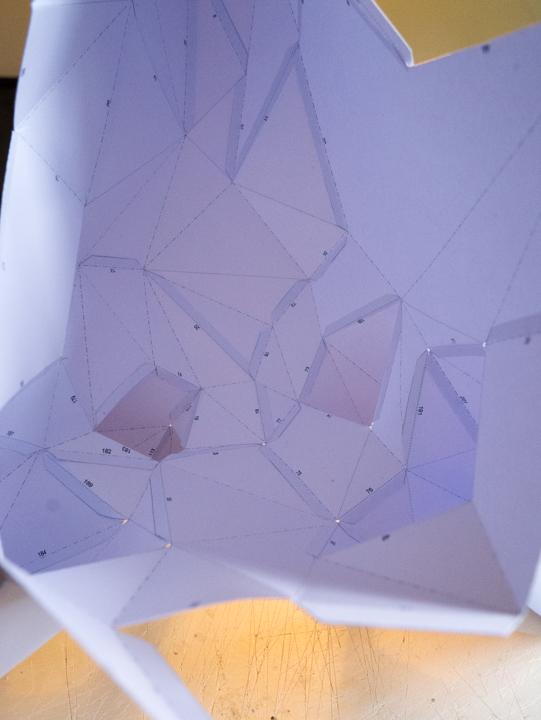 Paper deer head inside