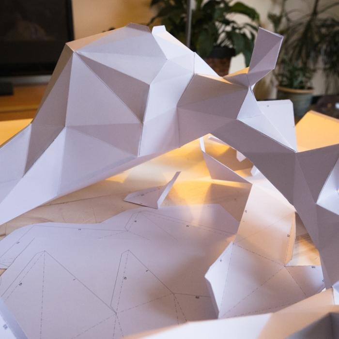 Paper deer head - Montage