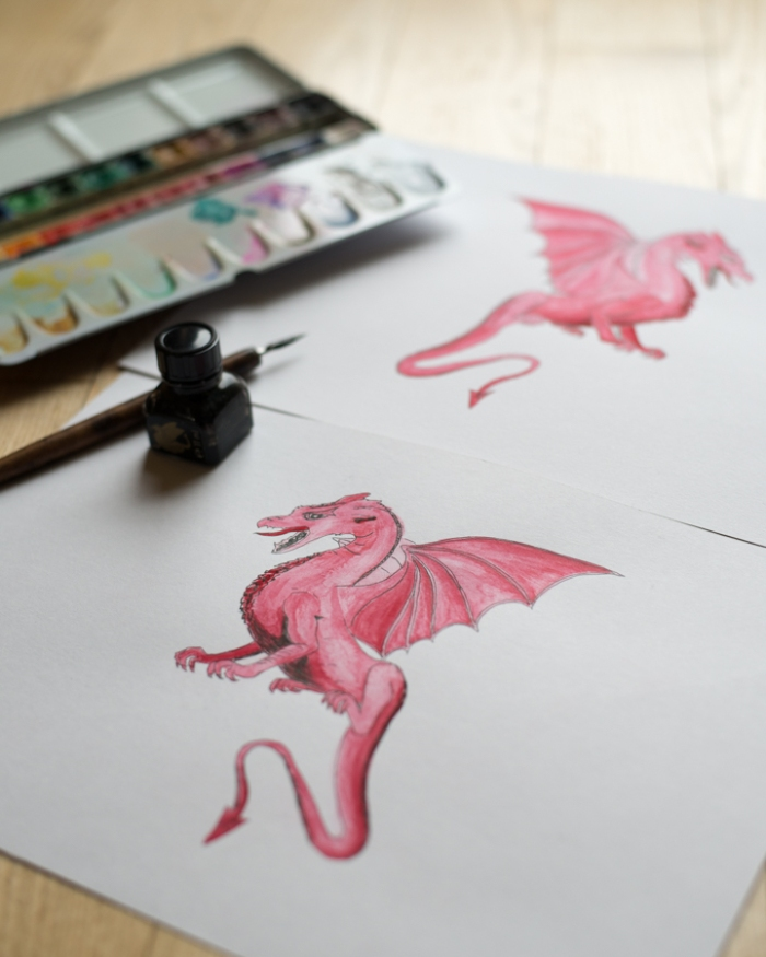 dragons-by-miss-coco-ink-and-water-color