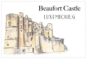 Drawing - Beaufort Castle, Luxembourg - Free to download on www.RoadTripsaroundtheWorld.com