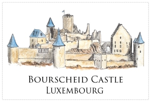 Drawing - Bourscheid Castle, Luxembourg - Free to download on www.RoadTripsaroundtheWorld.com