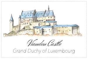 Drawing - Vianden Castle, Luxembourg - Free to download on www.RoadTripsaroundtheWorld.com