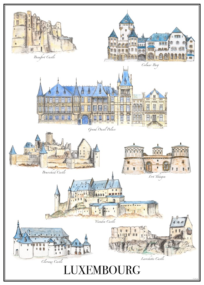 Castles of Luxembourg - hand drawn & designed by Miss Coco for www.RoadTripsaroundtheWorld.com