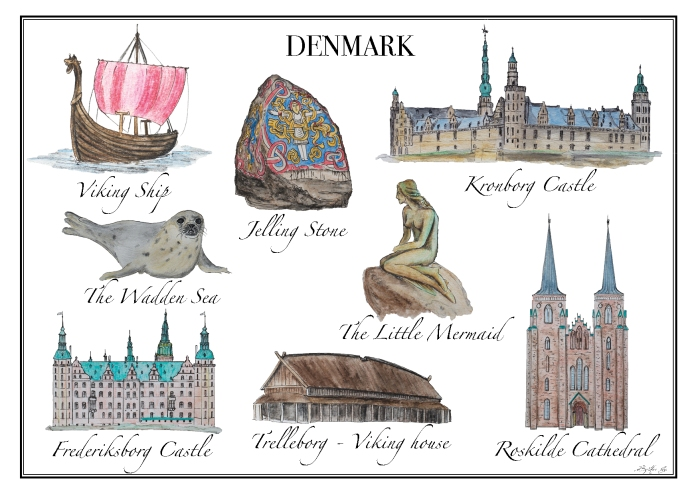 Denmark Postcard - designed by Miss Coco for www.RoadTripsaroundtheWorld.com