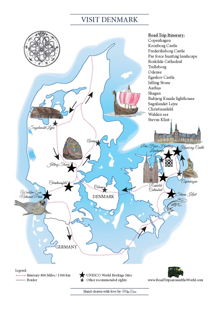 Map of Denmark - designed by Miss Coco for www.RoadTripsaroundtheWorld.com