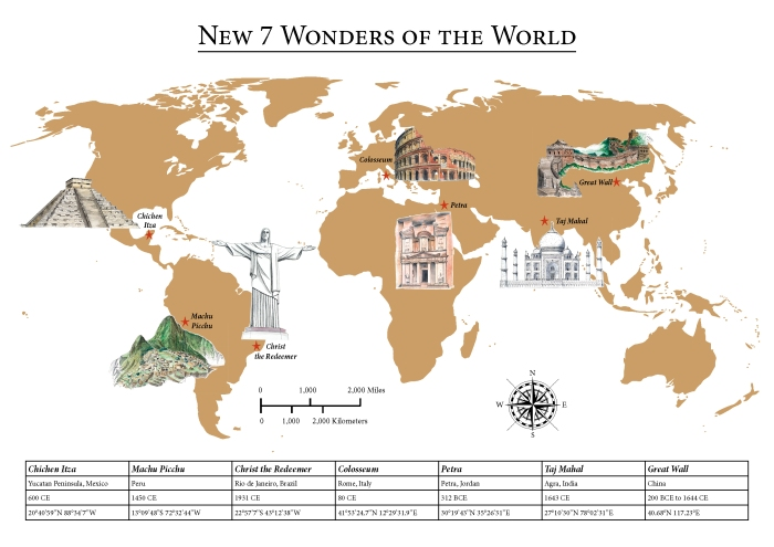 A Map of the 7 New Wonders of the World - Hand-drawn by Miss Coco for www.RoadTripsaroundtheWorld.com