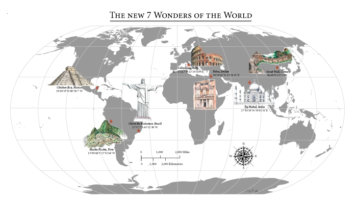 A Map of the New Wonders of the World - drawn with love by Miss Coco