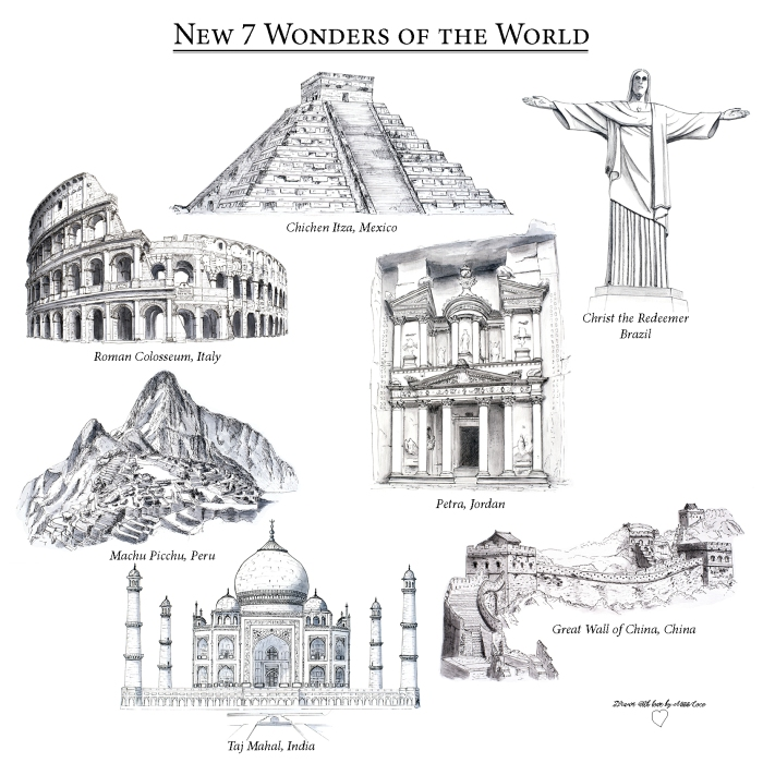 Wonders of the World - drawn with love by Miss Coco