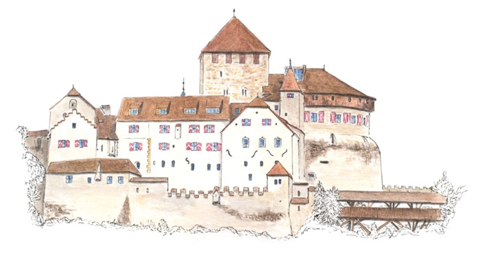 New castle drawing - the Vaduz castle in Liechtenstein - drawing by Miss Coco for www.RoadTripsaroundtheWorld.com