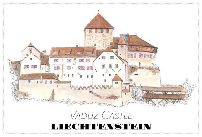 Vaduz castle, Liechtenstein - drawing by Miss Coco - www.RoadTripsaroundtheWorld.com