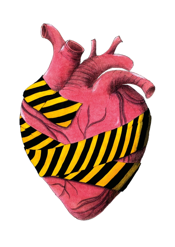 Caution tape around my heart - drawing by Miss Coco for www.BeautifulThings-Photography.com