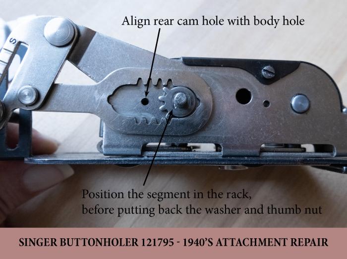 Repairing a Singer buttonholer - parts aligment