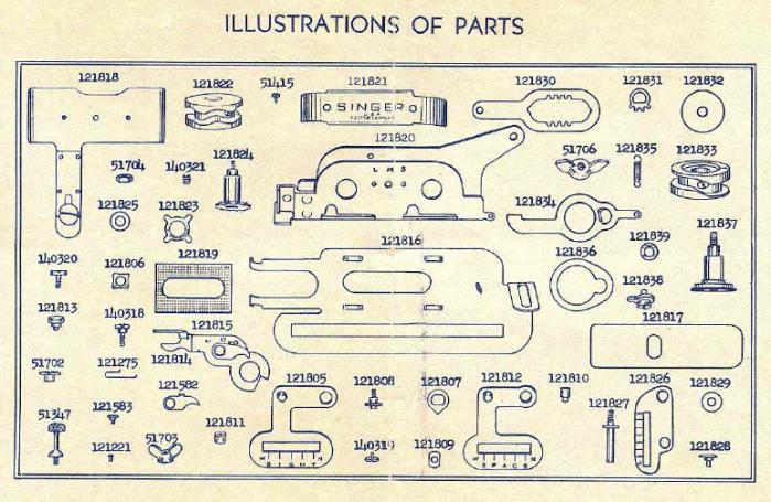 Singer buttonholer 121795 parts