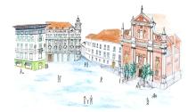Prešeren Square drawing - Ljubljana drawing - Slovenia