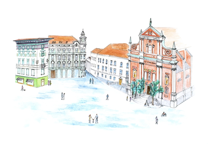 Prešeren Square drawing - Ljubljana drawing - Slovenia