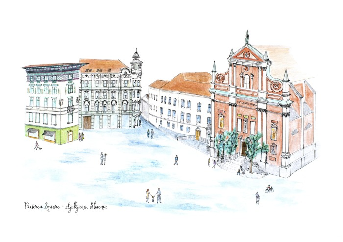 Prešeren Square drawing - Ljubljana drawing - Slovenia - designed by Coco