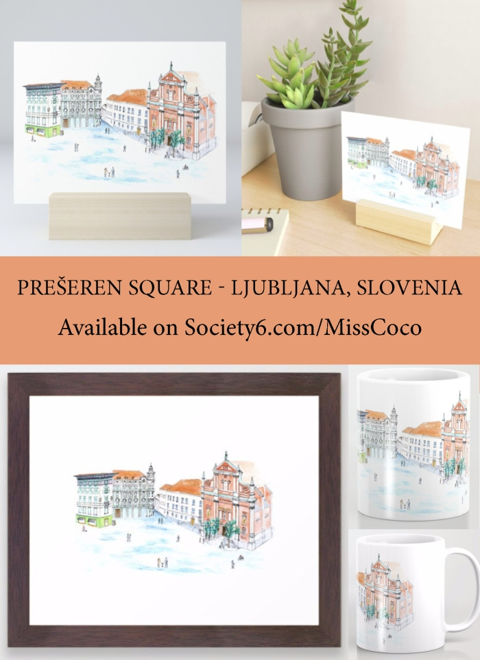 Prešeren Square - Ljubljana, Slovenia - available on Societ6 designed by Coco