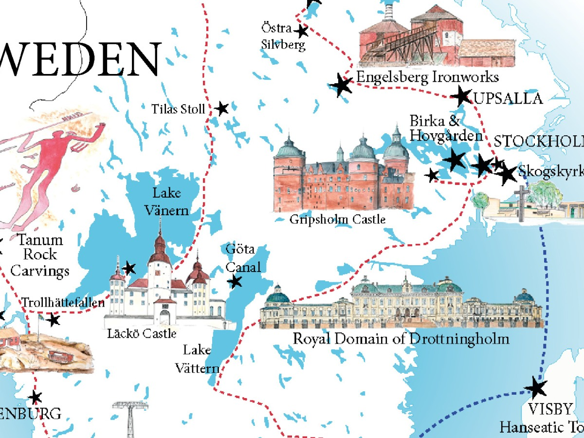 Sweden map - designed for www.RoadTripsaroundtheWorld.com