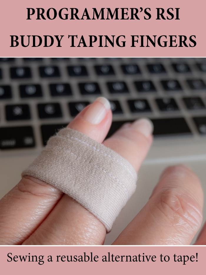 Programmer's RSI fingers - sewing a reusable alternative buddy taping devise