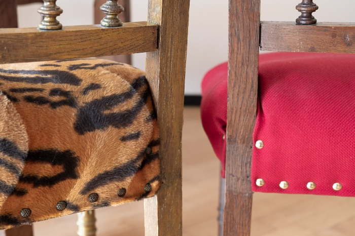 Upcycling Henri II chairs - back detail
