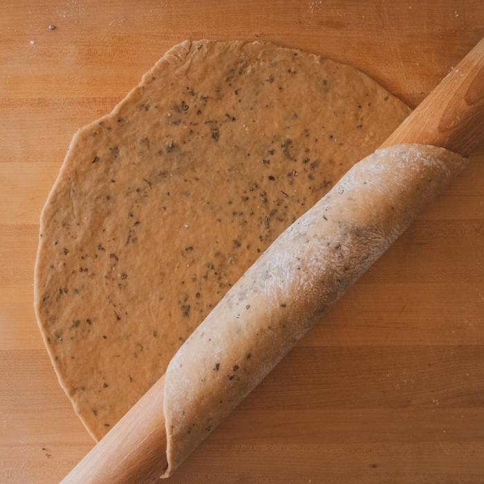 Vegan Onion Pie - dough with herbs