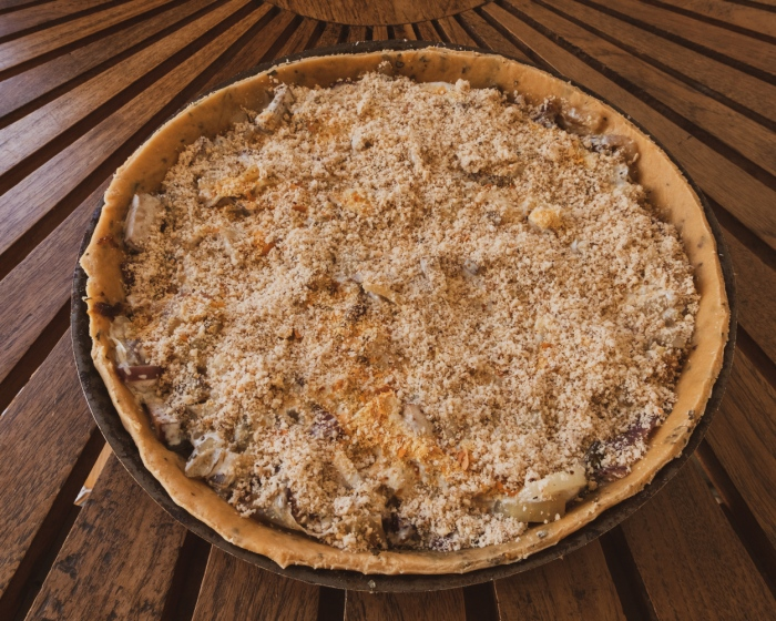 Vegan Onion Pie - ready to go in the oven