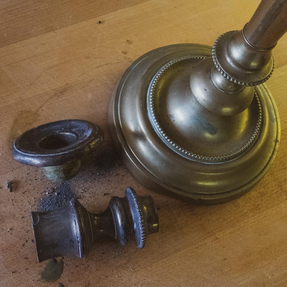 broken vintage candlestick