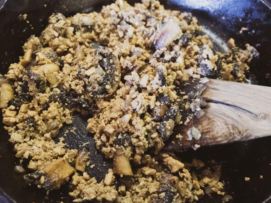 Sautéed mushrooms and minced tofu