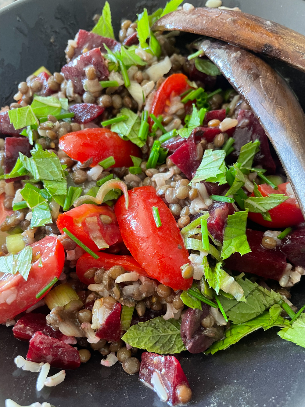 Left over lentils and rice with beets, tomatoes and herbs
